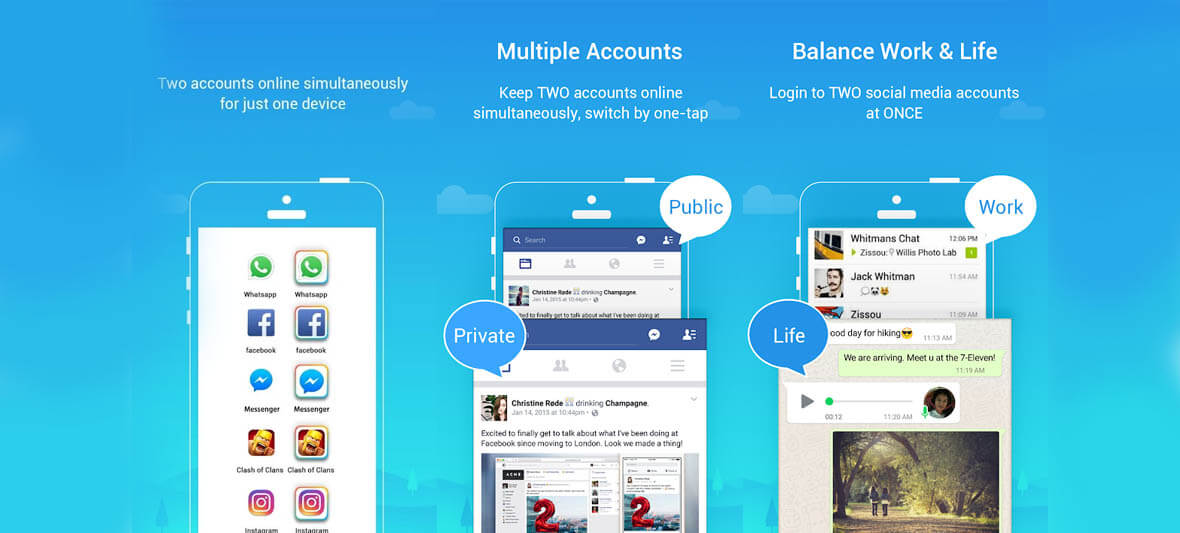 برنامه اندروید Parallel Space - Multiple accounts & Two face
